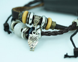 Cute Owl Design Dual Leather Bracelet CCC 682