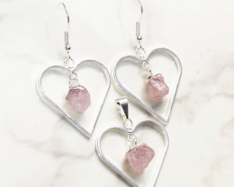 Raw Rose Quartz Gemstone Lovers Heart Pendant and Earring  - BRLHRQ Set 1