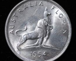 One  VF Australian Florin 1954 .500 Silver  code CC 983