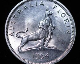 One VF  Australian Florin 1954 .500 Silver  code CC 984