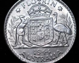 One Australian Unc  Florin 1944 .925 Silver  code CC 985