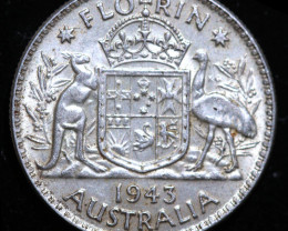 One Australian Florin 1943 .925 Silver  code CCC986