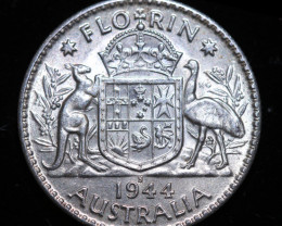 One Australian Unc Florin 1944 .925 Silver  code CCC987