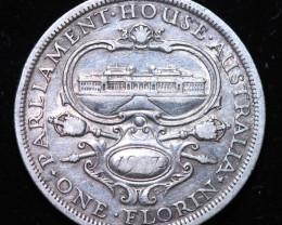 One Australian Florin 1927 .925 Silver  code CCC990