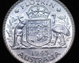 One VF Australian Florin 1943 .925 Silver  code CCC991