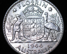 One Australian Unc Florin 1944 .925 Silver  code CCC993
