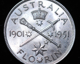 One VF Australian Florin 1951 post war  .500 silver CCC994