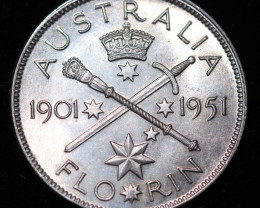 One Fair Australian Florin 1951 post war  .500 silver CCC996