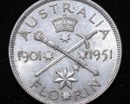 One Fair Australian Florin 1951 post war  .500 silver CCC997