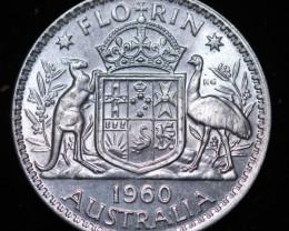 One  Australian Unc Florin 1960 post war  .500 silver CCC998
