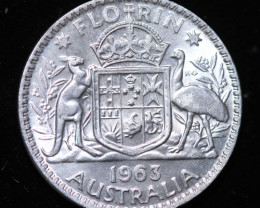 One Australian Unc Florin 1963 post war  .500 silver CCC999
