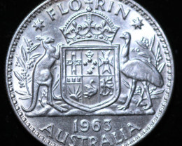 One Australian Unc Florin 1963 post war  .500 silver CCC1000