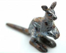 Hand carved Cute Australian  Kangaroo on yowah opal ironstone RN 10