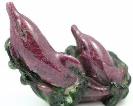 Hand carved ruby  Zosite  Dolphins on mineral specimen RN 13
