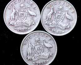 One Australian Sixpence 1936- 43 .925 silver  ONE  only CC1002