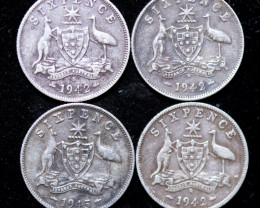 One Australian Sixpence 1942-45   .925 silver  ONE  only CC1003
