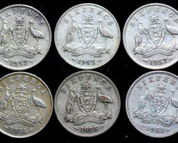 One Australian Sixpence 1950s  .500 silver  CC 1012