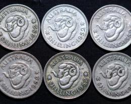 One   Australian Shilling 1952 .500 silver Cc 1009
