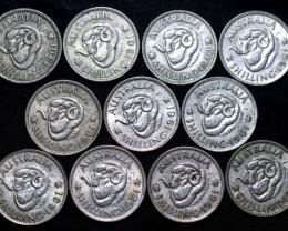 One  Australian Shilling 1961   .500 silver Cc 1011