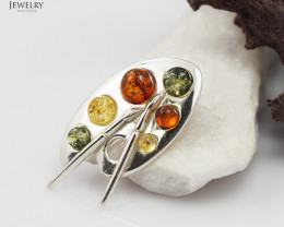 Baltic Amber Sale,Artists Palette Brooch , direct from Poland RN 110