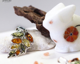 Baltic Amber Leaf Pendant Sale, direct from Poland RN 138