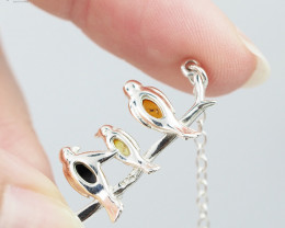 Cute Birds on branch Necklace amber  , direct from Poland RN 153