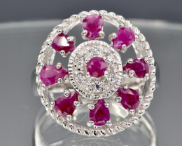 Natural Ruby and 925 Silver Ring  CH 800