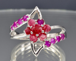 Natural Ruby and 925 Silver Ring  CH 801