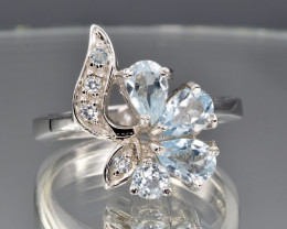 Natural Topaz, CZ and 925 Silver Ring  CH 802