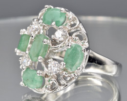 Natural Emerald and 925 Silver Ring  CH 803