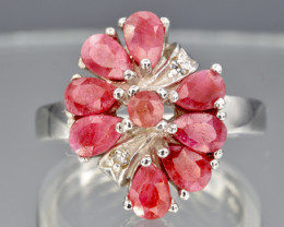 Natural Ruby and 925 Silver Ring  CH 805