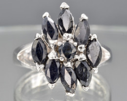 Natural Dark Sapphire and 925 Silver Ring  CH 808