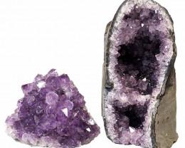 1.98kg Amethyst Crystal Geode Specimen Set 2 Pieces P373