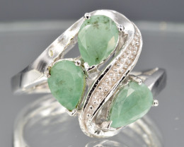 Natural Emerald and 925 Silver Ring  CH 811