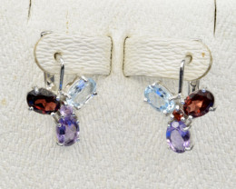 Natural Topaz, Amethyst, Rhodolite and 925 Silver Earring CH 813