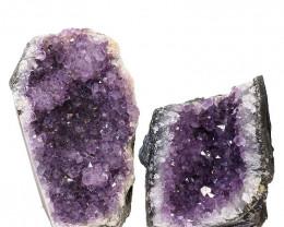 1.88kg Amethyst Crystal Geode Specimen Set 2 Pieces P376