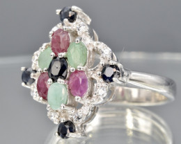 Natural Ruby, Emerald and Sapphire Ring  CH 815