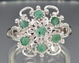 Natural Emerald and 925 Silver Ring  CH 818
