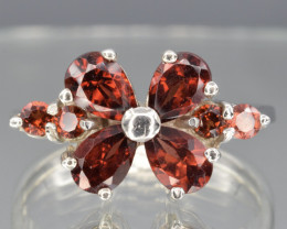 Natural Rhodolite and 925 Silver Ring  CH 821