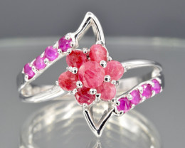 Natural Ruby and 925 Silver Ring  CH 822