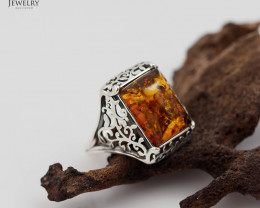 Baltic Amber Rectangular Ring size M , direct from Poland RN179