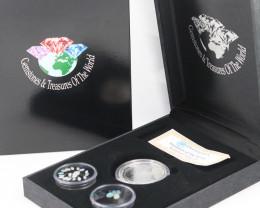 AUSTRALIAN TREASURES -Koala Silver Coin & Opals   code AAT2