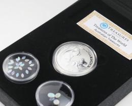 AUSTRALIAN TREASURES -Koala Silver Coin & Opals   code AAT16