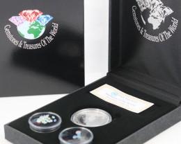 AUSTRALIAN TREASURES -Koala Silver Coin & Opals   code AAT17