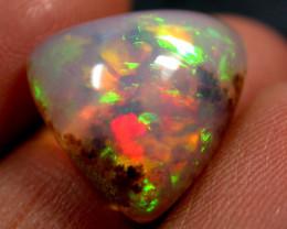 6.35 cts Ethiopian Opal ,Dendritic , Red Green Rolling Flash QOG 800