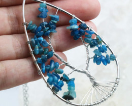 Blue Agate, Handmade silver  wire wrap Tree Of life Pendant CCC 1027