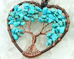 Turquoise handmade copper wrap Tree of life Key ring CCC  1031