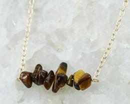 Tiger Eye Handmade gold wire wrap Pendant CCC 1045