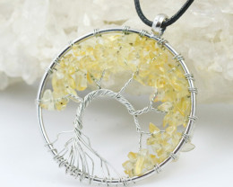 Citrine Handmade black wire wrap Tree Of Life Pendant CCC 1057