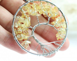 Citrine Handmade black wire wrap Tree Of Life Pendant CCC 1058